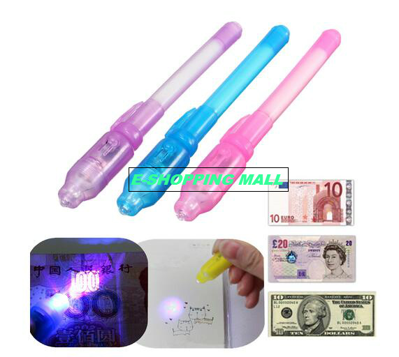 Free Shipping+Invisible Ink Pen UV Black Light Combo,2 in 1 Magic Invisible Ink Pen Security Mark Creative Invisible Pen(China (Mainland))