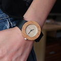 GK Beige Women s Wooden Watch Bamboo Case Genuine Leather Strap Classic Vogue Casual Quartz Watch