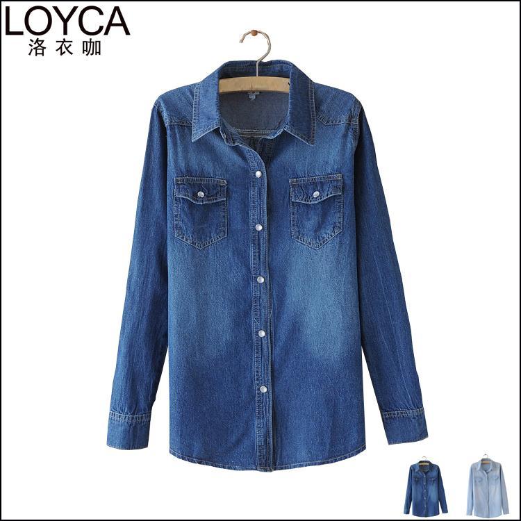 Loyca Ladies Denim Shirts Long Sleeve Blue Jeans Shirt