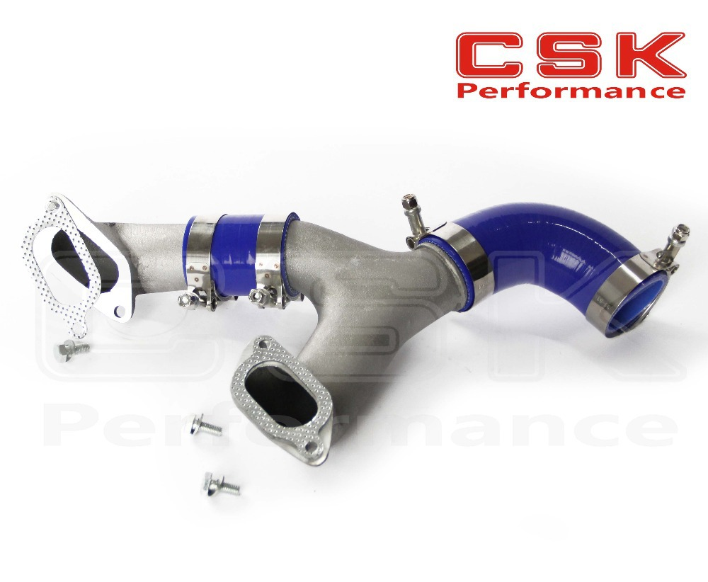 ALUMINUM TOP MOUNT INTERCOOLER Y-PIPE kit FIT FOR 02-07 IMPREZA WRX/STI GD/GG BLUE(China (Mainland))