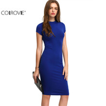 Buy COLROVIE Summer Office New Arrival Women's Bodycon Dresses Sexy Short Sleeve Crew Necl Work Knee Length Dress for $10.90 in AliExpress store
