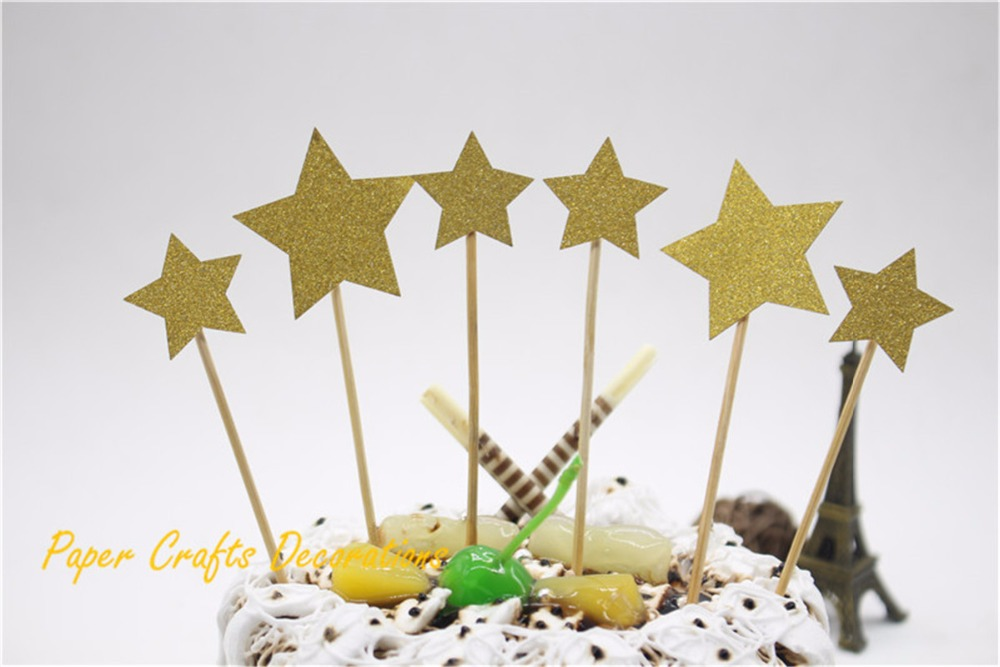 Set of 6pcs gold glitter stars party cake topper kit for Stars decorations for home