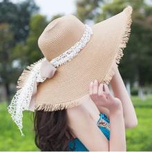 2016 New Fashion Beach Hats For Women White In Women's Sun Hats Summer Big Brim Hat Woman Floppy Straw Hat Sombreros  Hot Sale(China (Mainland))
