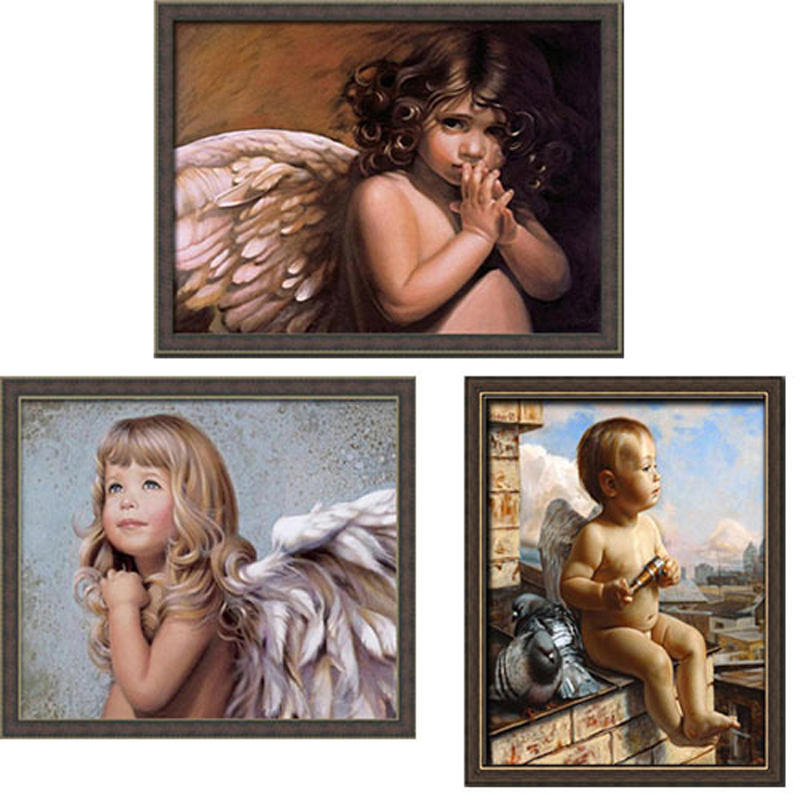 3pcs/lot Frameless Digital painting European character picture 40*50 hand-painted angel hall decoration painting(China (Mainland))