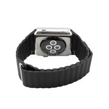 Cuero genuino de lujo negro tipo de bucle de correa de reloj de correa con ajustable hebilla magnética para Apple reloj 42 mm para iwatch #DQ yw