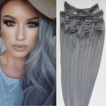 Fast Shipping 7A Grade Silver Grey Color 100% Brazilian Virgin Remy Clips In Human Hair Extensions 7pcs/set Full Head(China (Mainland))