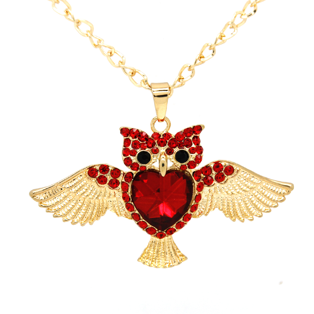 New Brand Fashion Charms Red Crystal Owl Necklace 18K Gold Long Chain Necklaces&Pendants Women Jewelry Wholesale FNG0013-B(China (Mainland))