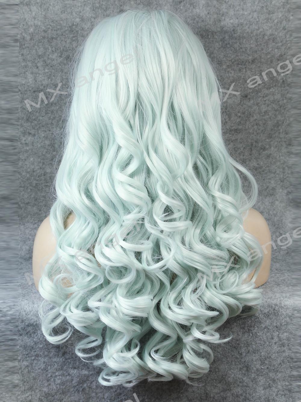 K07 Cheap 26inch Wavy Light Blue Color Synthetic Lace Front Wigs Heat Resistant Heavy Density kanekalon Fiber Ladies Wigs