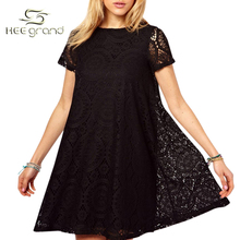 Summer Style Women Dress 2016 Western Style Lace Short Sleeves O-neck Solid Dresses Plus big Size 4XL Wholesale WQS907(China (Mainland))