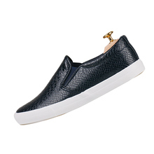 Black White Men's Leather Shoes Flats Round Toe Snake Print Solid 2016 New  Fashion Casual Shoes Man Simple Style Size39-41W0290(China (Mainland))