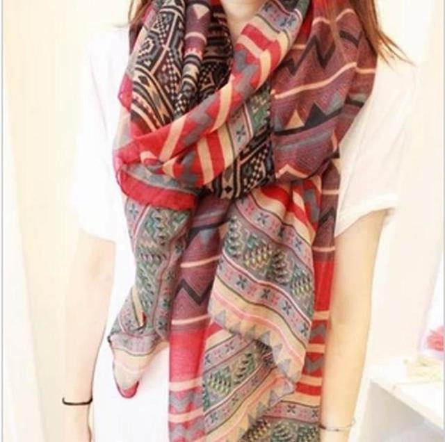 Оптовая продажа высокое качество горячая распродажа размер лагер 180 * 90 см горячая распродажа стиле ретро национального шарф хлопка для женщин, Hca-sk044