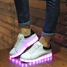 Fashion 8 Colors LED Luminous Shoes 2016 Women Flats USB Charging Colorful LED lights Shoes Trainers Hombre Mujer Size 35-44