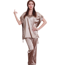Горячие Моды Женщины Пижама 2016 Атласа Pijama Для Коротким Рукавом Шелковая Пижама Устанавливает Пижамы для женщин 10167(China (Mainland))