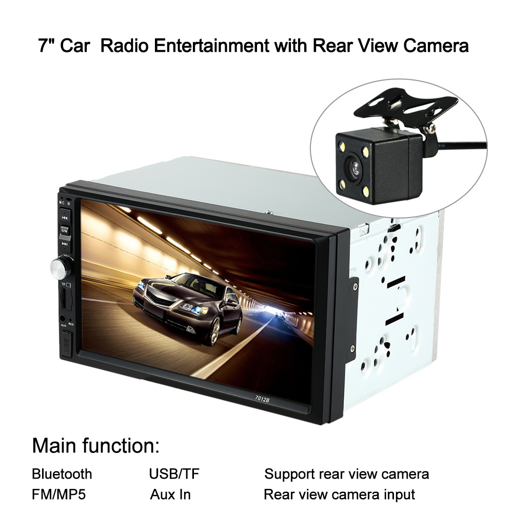 "7"" Universal 2 Din HD Car Radio MP5 Player Bluetooth Radio Entertainment Multimedia with Rear View Camera(China (Mainland))"