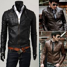 Free shipping2013 New Mens leather jacekt +Men's  casual jacket slim fit ,PU leather ,3colors ,4sizes,drop shipping MLJ2(China (Mainland))