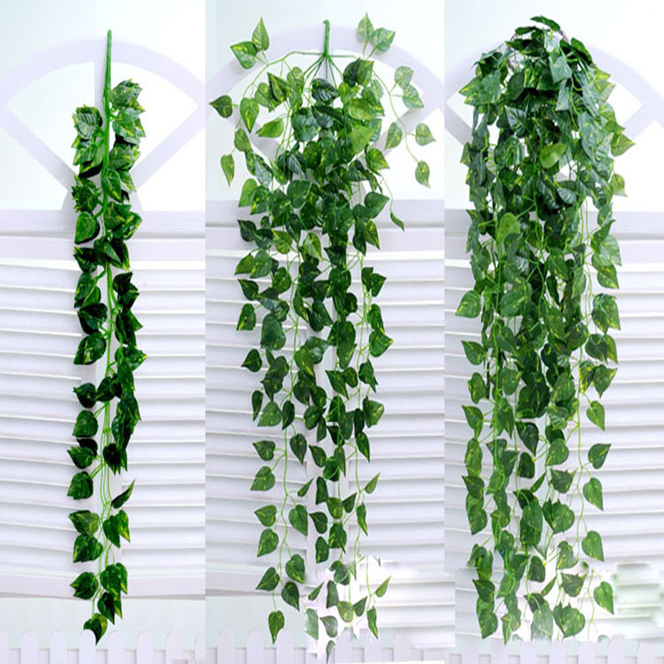 90*20cm Silk Fabric Artificial Ivy Vine Hanging Green Leaf Vine High Quality Fake Plant Leaves For Home and Garden Decoration(China (Mainland))