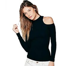 ladies top Cut Out Black Blouse Off The Shoulder Tops For Women Spring Shirt Blouse Cold Shoulder Long Sleeve Women Tops Stretch(China (Mainland))