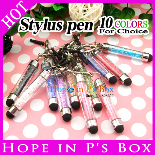 1000pcs/lot Crystal Stylus Pen Capacity screen touch pen portable wholesale for iPhone/iPad Samsung HTC and other mobile phone(China (Mainland))