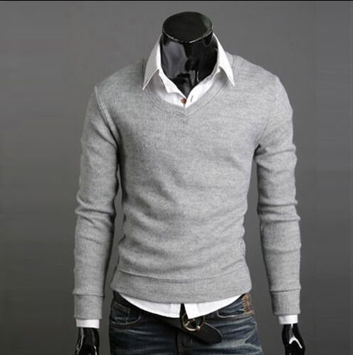 Fast shipping Hot selling men's clothing slim sweater male all-match V-neck men's pullover sweater clothing Wine red Tops(China (Mainland))
