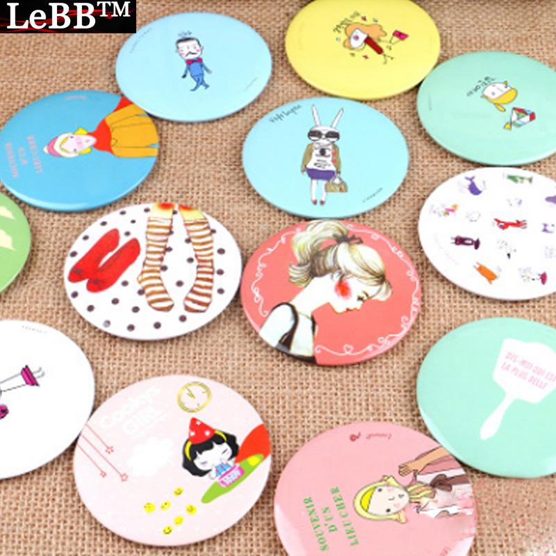 LeBBTM Korea Design Fashion Hand Mirrors Decorative Lighted Mini Mirror Retail Makeup Mirror Round Metal Face Mirror(China (Mainland))