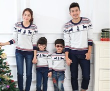 Fashion 2014  winter family clothing sets  for mother father child and daughter son matching christmas sweaters deer pattern(China (Mainland))