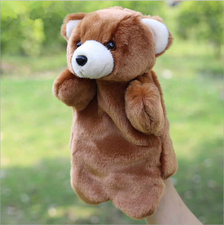 2015 trendy little teddy bear plush toy animal hand puppet doll / children's finger toys, free shipping!(China (Mainland))