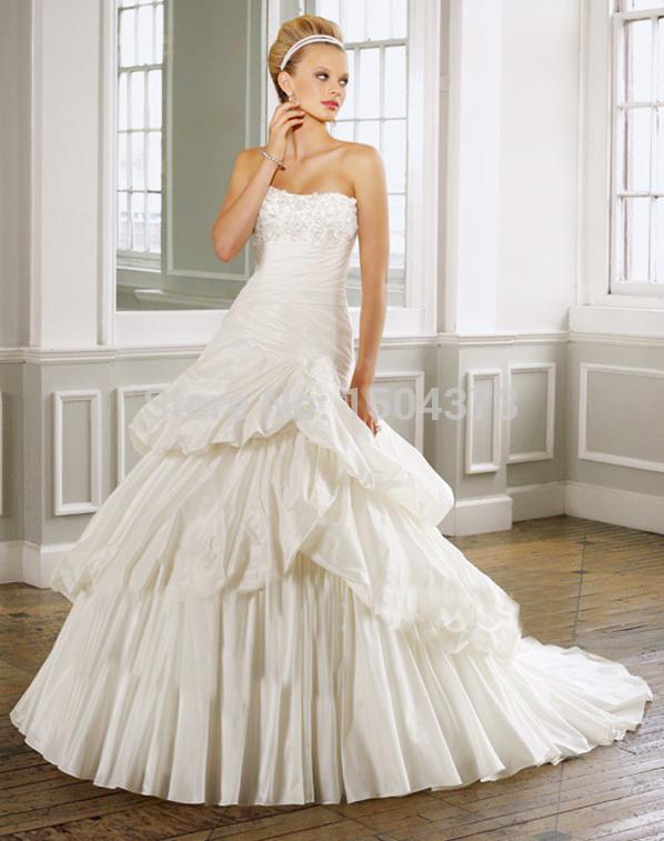 Plus size vintage wedding dresses strapless off the for Off the shoulder taffeta wedding dress