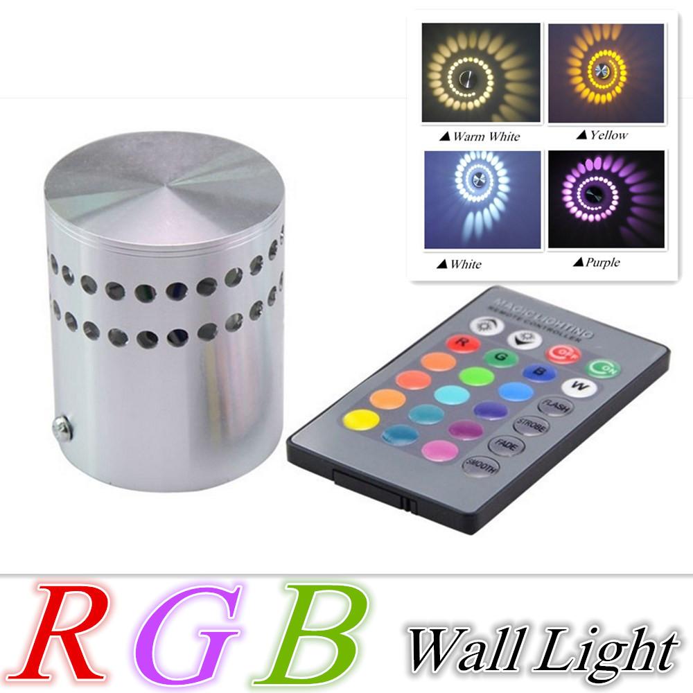 Free shipping 3W AC85-265V RGB Wall Lamp KTV Karaoke Bar Decoration LED Wall Light RGB Bulb with 24 Keys Remote Control(China (Mainland))