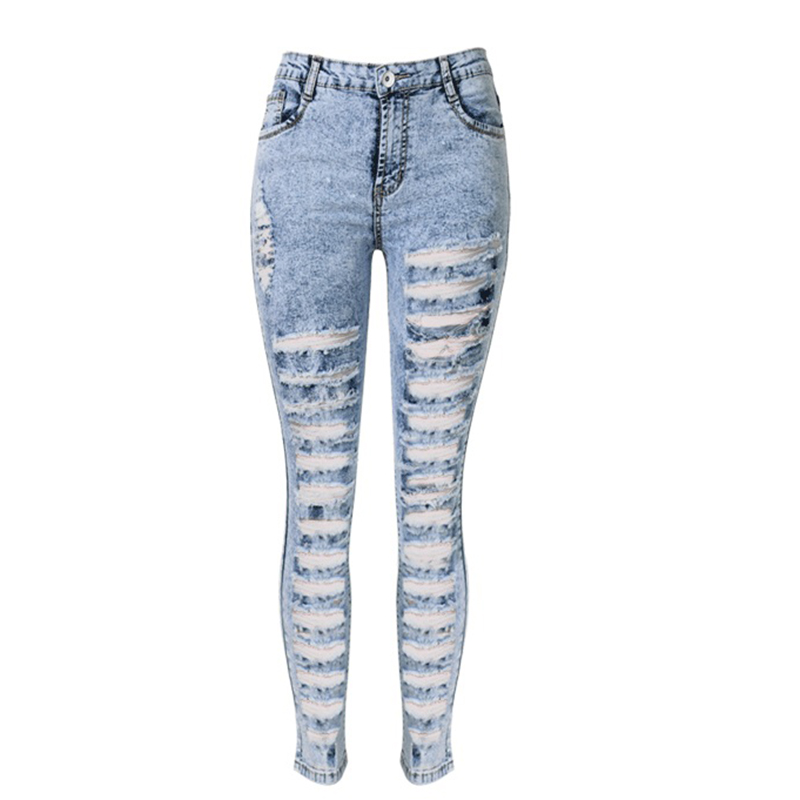 High Waisted Acid Wash Ripped Jeans - Xtellar Jeans