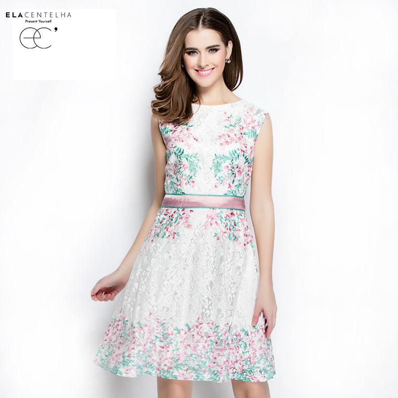 ElaCentelha Brand Dress Summer Women High Quality Embroidery Cute Print Contrast Color Dress Casual Sleeveless Womens DressesОдежда и ак�е��уары<br><br><br>Aliexpress