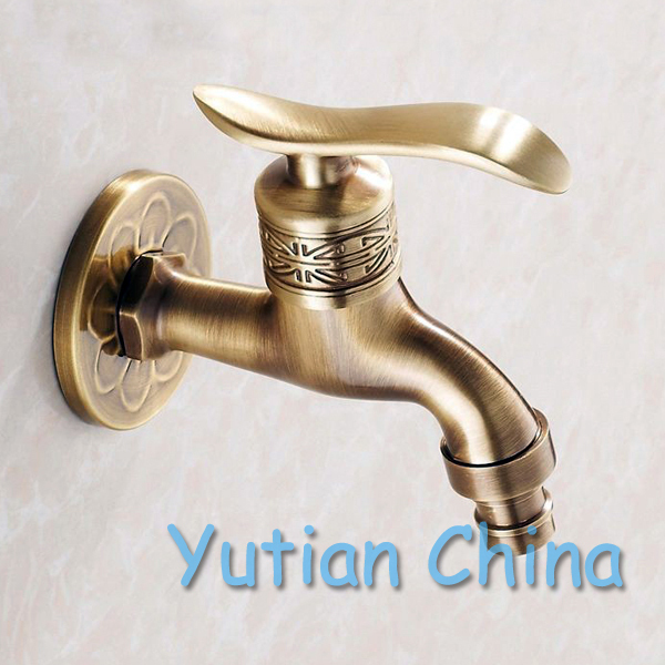 Bibcock faucet tap crane Antique Brass Finish Bathroom Wall Mount Washing Machine Water Faucet Taps YT-5161(China (Mainland))