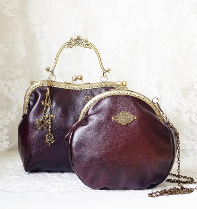 2017 Women Victorian Style Shoulder Bag Handmade Etsy Kiss Lock Vintage Retro Brown Frame Chain PU Leather Kiss Lock Funky Bag(China (Mainland))