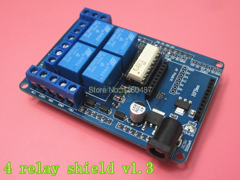 Free shipping! 5pcs/lot 4 channel 5V Relay module extension board Relay Shield V1.3 for arduino compatible(China (Mainland))
