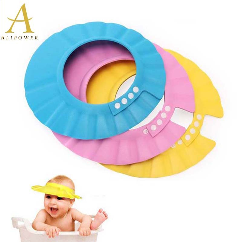 2015 New 5 Colors Children Adjustable Safe Shampoo Shower Bath Protection Soft Caps Baby Hats For Kids 0-6 years Free Shipping(China (Mainland))