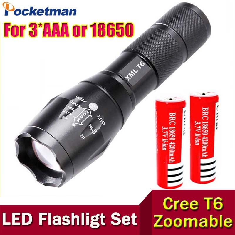 E17 CREE XM-L T6 3800Lumens cree led Torch Zoomable cree LED Flashlight Torch light with 2*18650 Rechargeable Battery(China (Mainland))