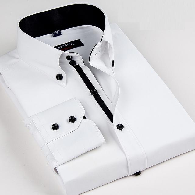 2016 новое поступление белые люди бизнеса рубашки люксовый бренд с длинным рукавом ...