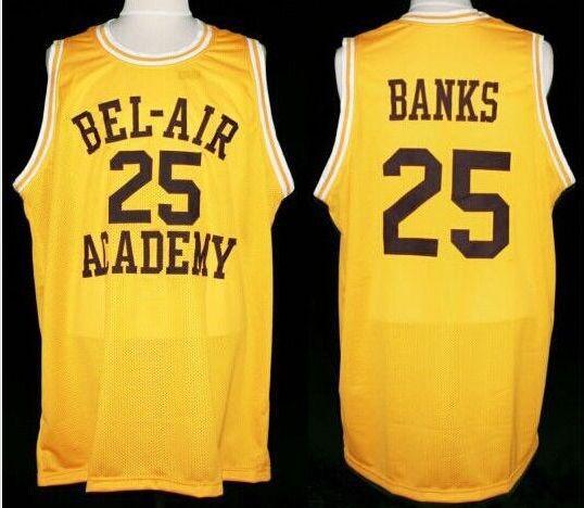 BEL-AIR Academy #25 CARLTON BANKS basketball Jerseys, Gold Retro Stitched Throwback Personalized Custom Jersey(China (Mainland))