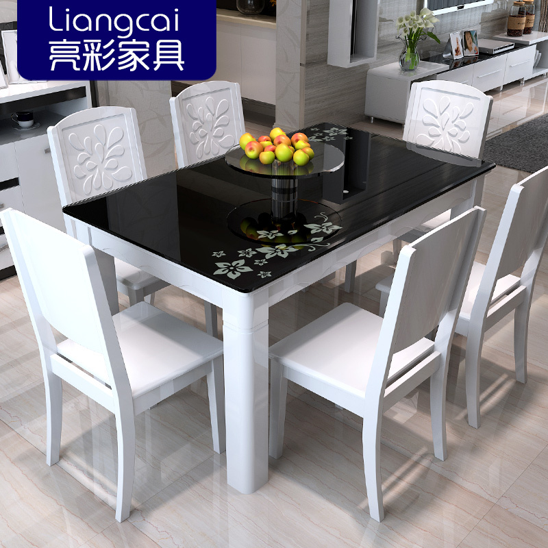 Bright color combination of black glass dining tables and for Colourful dining table and chairs