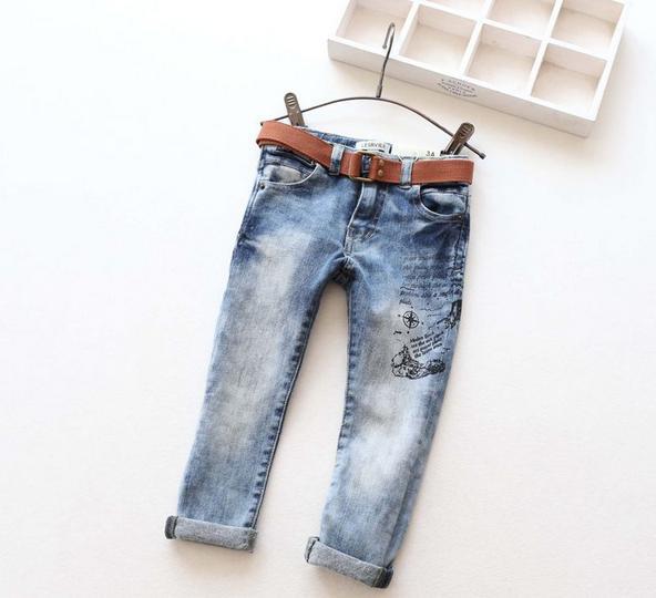 New Arrival Children Denim Jeans Boys Girls Skinny Jeans Kids Fashion Denim Jeans With Belt Children Spring Autumn Long Pants