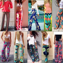 2015 Summer Women Pants Casual High Waist Flare Wide Leg Long Pants Palazzo Trousers Plus Size Floral Classic Exuma Pant Preppy