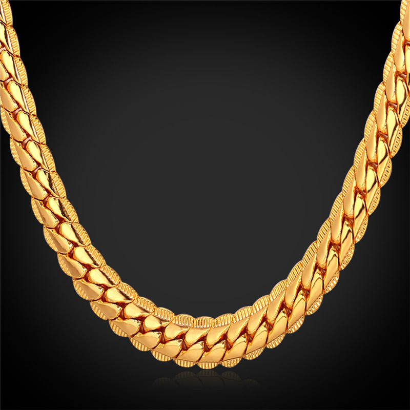 Mens Gold Chain Necklace 18K Stamp Black Gun/Rose Gold/Platinum/18K Real Gold Plated Vintage Chain Men Jewelry Wholesale N739(China (Mainland))
