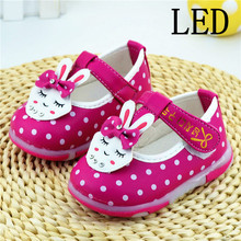 2016 spring and autumn light emitting LED lights cute baby princess leather zapatos de ninos mocasines girl leather shoes