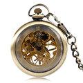 Vintage Open Face Roman Numerals Mechanical Hand Winding Pocket Watch Bronze Fashion Women Men Steampunk Chain