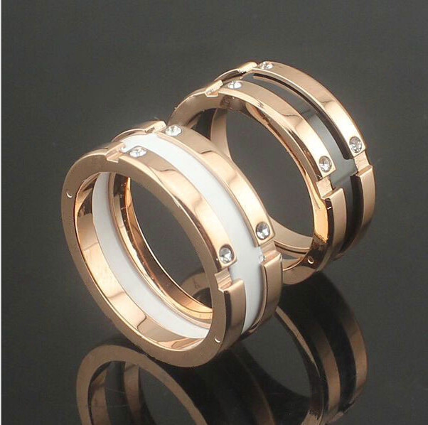 New Fashion Crystal Black/White Ceramic Gear Rings/anel ,Rose Gold Stainless steel Brand  Women/Men Wedding Jewelry(China (Mainland))