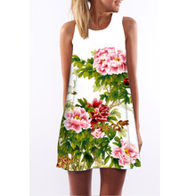 Summer&Spring New Sleeveless Print Letters Dresses Natural Big Flowers Sexy O-Neck Dress Cotton Mini Women's Clothing Vestidos(China (Mainland))
