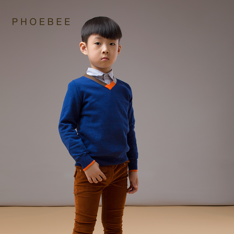 boys sweaters pullovers 2-8 years boys sweaters kids winter sweater 100 to140cm brand phoebee blue gray cotton children pullover(China (Mainland))