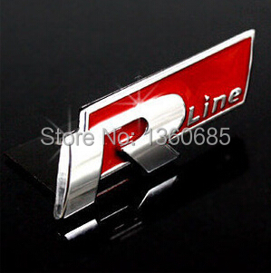 1/ lot 3D Metal Car Sticker Rline Front Emblem VW Jetta PASSAT CC POLO Tiguan Chrome R-line Logo Center Grille Badge