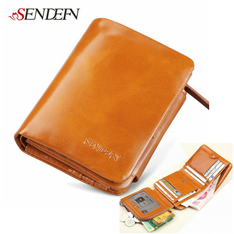 3 Fold Vintage Brand Women Leather Coin Purse Zipper Small Cowhide Change Purse Genuine Leather Female Wallet Short Credit Cards(China (Mainland))