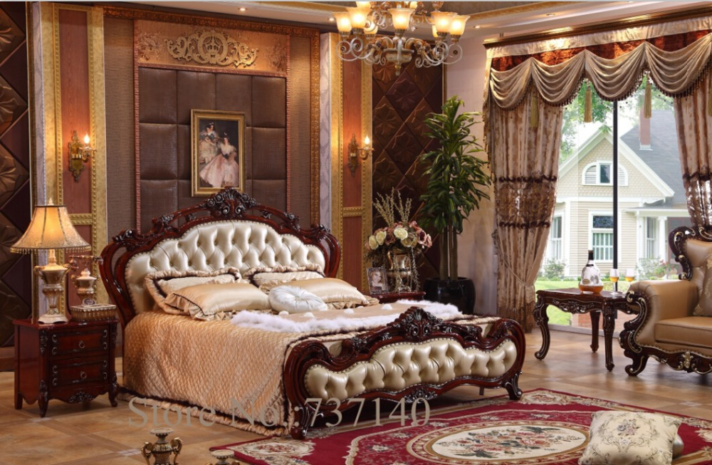 Bedroom furniture baroque bedroom set solid wood bed for Chaise longue barok