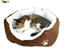Umiwe Cute Paw Print Cats Puppy Beds Comfortable Pets Dog Kitten Beddings House Nest Pad Soft Fleece Bed(China (Mainland))